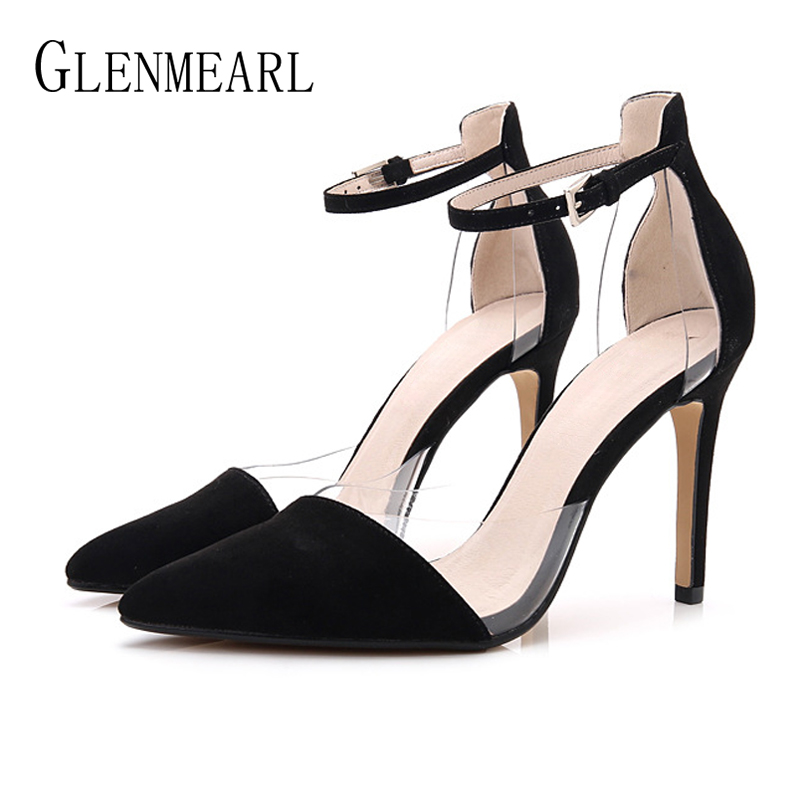 Leather Women Shoes High Heels PVC Transparent Ankle Strap Pumps Woman Pointed Toe Dress Shoes Female