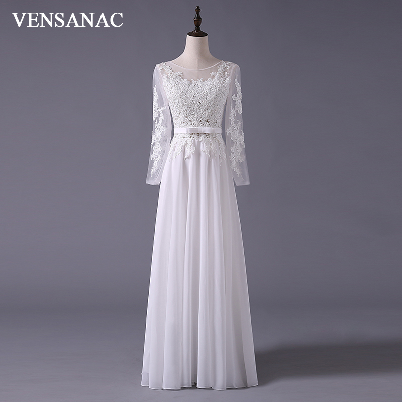 VENSANAC 2017 New A Line Embroidery Boat Neck Full Sleeve White Satin Bridal Wedding Dress Wedding Gown 30365