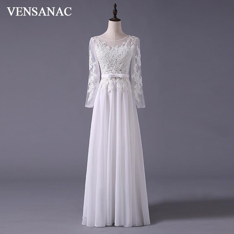 VENSANAC 2017 New A Line Embroidery Boat Neck Full Sleeve White Satin Bridal Wedding Dress Wedding Gown 30365