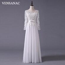 VENSANAC 2017 New A Line Embroidery Boat Neck Full Sleeve White Satin font b Bridal b