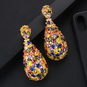 Image 3 - Роскошные сережки GODKI 75 мм Макси размера, свадебные сережки в форме капли с фианитом, модные ювелирные украшения