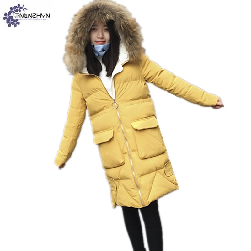 TNLNZHYN Women's clothing winter new fashion Big yards hooded collar collar Pure color long thickening warm women jacket TT046 big yards for women s shoes in the fall and winter of 2016 high thickening bottom anti slip with warm confined new fashion shoes