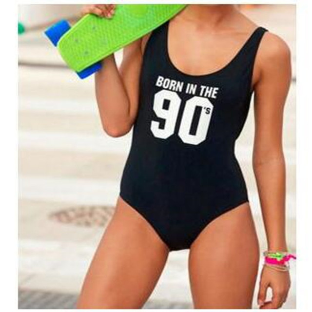 36a034d02fb45 Born In The 90 s Letter Sexy Thong One Piece Swimsuit Women High Cut  Monokini Funny Swimwear