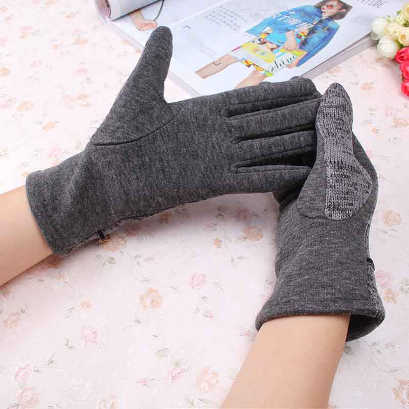 C Beauty Lady Wool Knitted Gloves New Design Chain Pattern Full