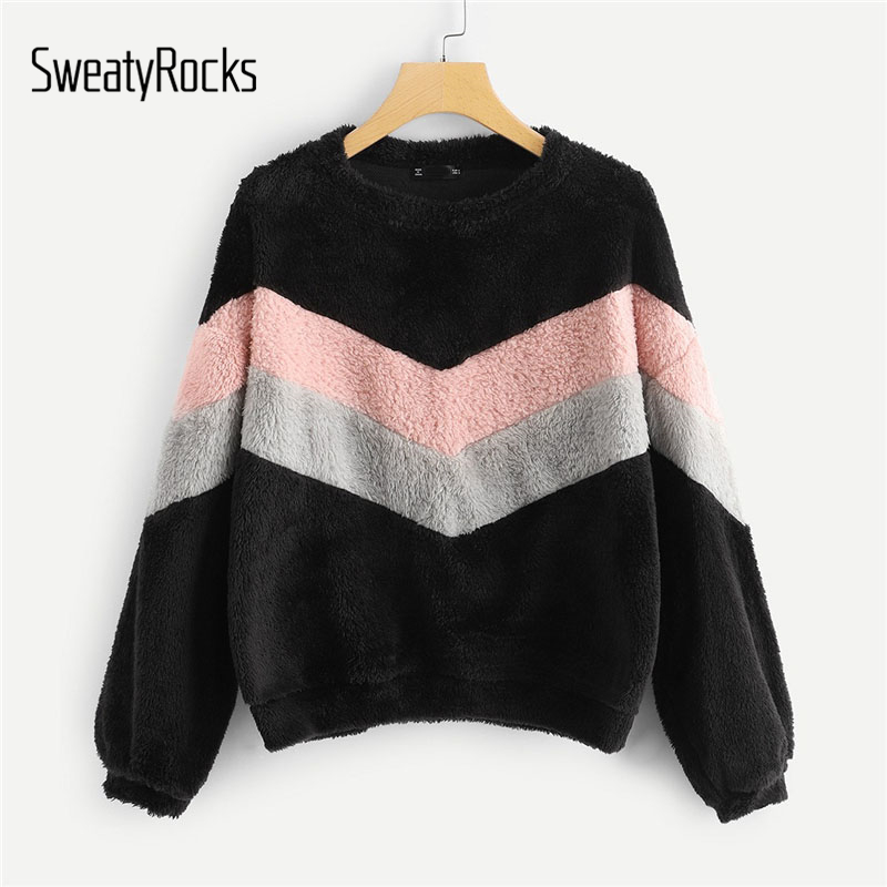 SweatyRocks Colorblock Active Wear Sweatshirt Long Sleeve Patchwork Pullover Tops 2019 New Spring Casual Women Sweatshirts