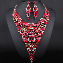 Wedding Jewelry Full Rhinestones long flowers Necklace Earrings for Women African Bridal Jewelry sets