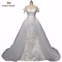 Свадебные платья русалки с кружевной аппликацией, Пляжное свадебное платье, свадебное платье трансформер, платье принцессы с коротким шлей