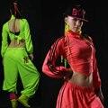 2016 chegada nova hip hop moda lacing racerback ds trajes de dança de manga comprida T para mulheres