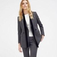 C + IMPRESS Для женщин пиджаки офис леди формальные серые костюмы Топы бизнес костюмы офисные женские качество одежды работы одежда женская