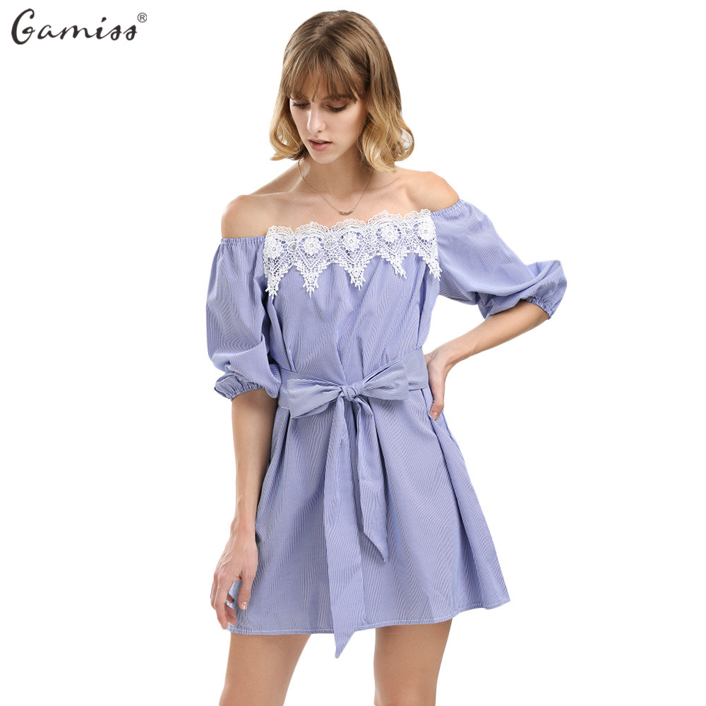 Navy short lace mini summer dress dresses elegant party vestidos brand - Gamiss Loose Elastic Sexy Off Shoulder Blue Lace Mini Dress Women Girl Casual Short White Party Dress With Belt Vestidos