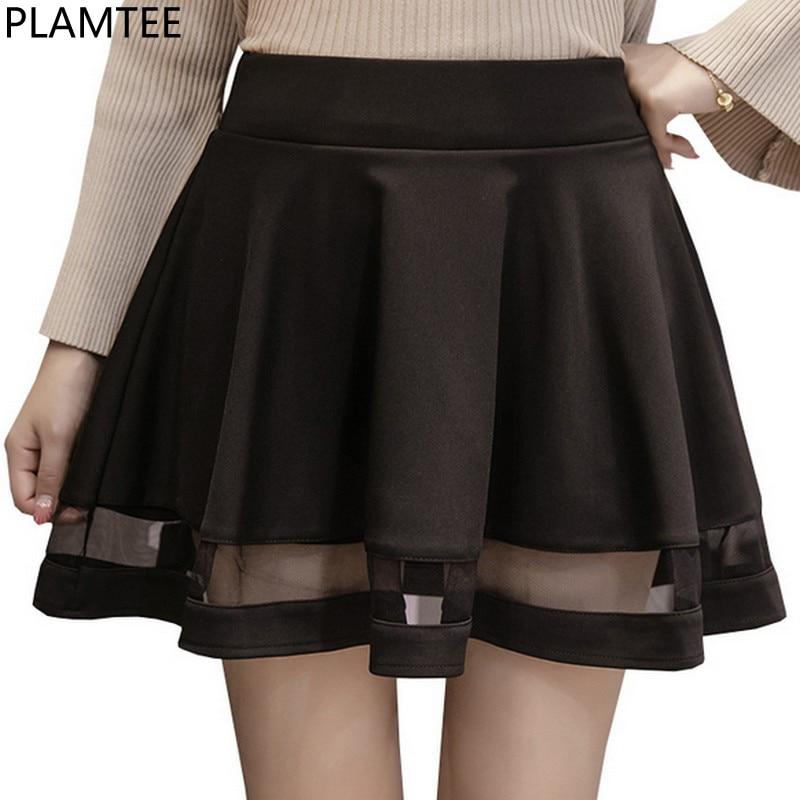 PLAMTEE Perppy Women Midi Skirts High Waist Pleated Mini ...