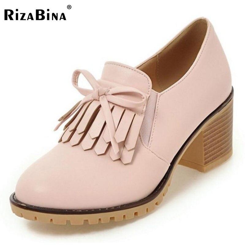 RizaBina Women Thick High Heels Shoes Women Cross Tied Tassels Bowknot Solid Color Heel Pumps Ladies