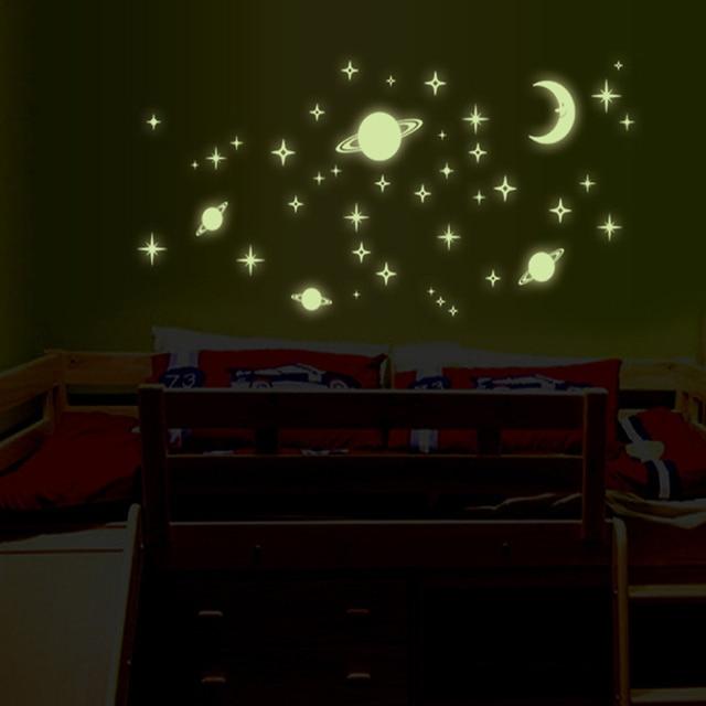 Leuchtende Wandtattoos Kinderzimmer   1 Stucke Wandaufkleber Fur Kinderzimmer Schlafzimmer Wandtattoo Mond