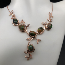 Graceful tree deisgn necklace with natural Top quality good fire ethopian black opal 925 silver gemstone jewelry for women tbj feather gemstone ring with natural ethopian opal good fire in 925 sterling silver fine jewelry for girls with jewelry box