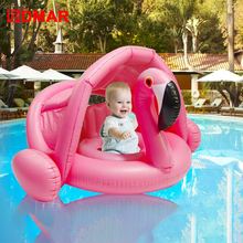 DMAR 0-3 Years Baby Inflatable Flamingo Swan Pool Float with Sunshade Ride-On Swimming Ring Safe Seat Water Toys Infant Circle 0 3 years old baby inflatable flamingo swan pool float with sunshade ride on swimming ring safe seat water toys infant circle