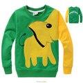 De algodón de manga larga camisetas de niños, lindo animal de la historieta de la camiseta, del color del caramelo que basa la camiseta, nova niños