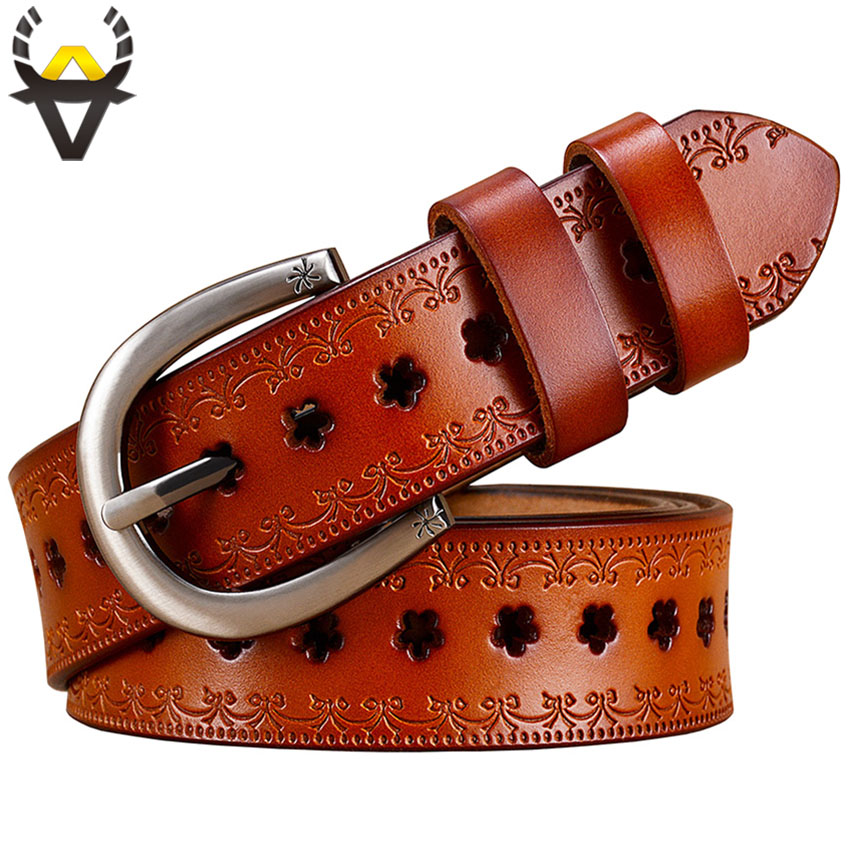 Fashion Hollow Genuine leather   belts   women Vintage Pin buckle floral   belt   woman 2018 thin strap for jeans Second layer cowskin