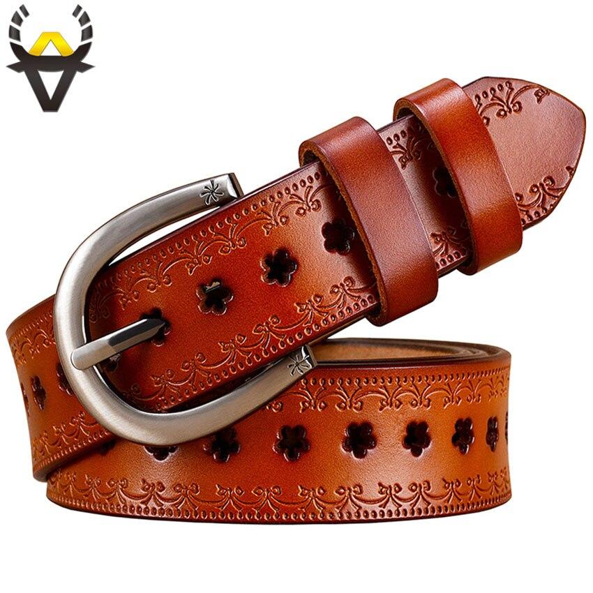 Mode creux en cuir véritable ceintures femmes Vintage boucle ardillon floral ceinture femme peau de vache taille sangle femelle ceinture largeur 2.8 cm