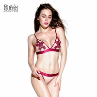 JYF Brand Plus Size Sexy Ultra Thin Lingerie Victoria Lace Bra Set Women Embroidery Deep V