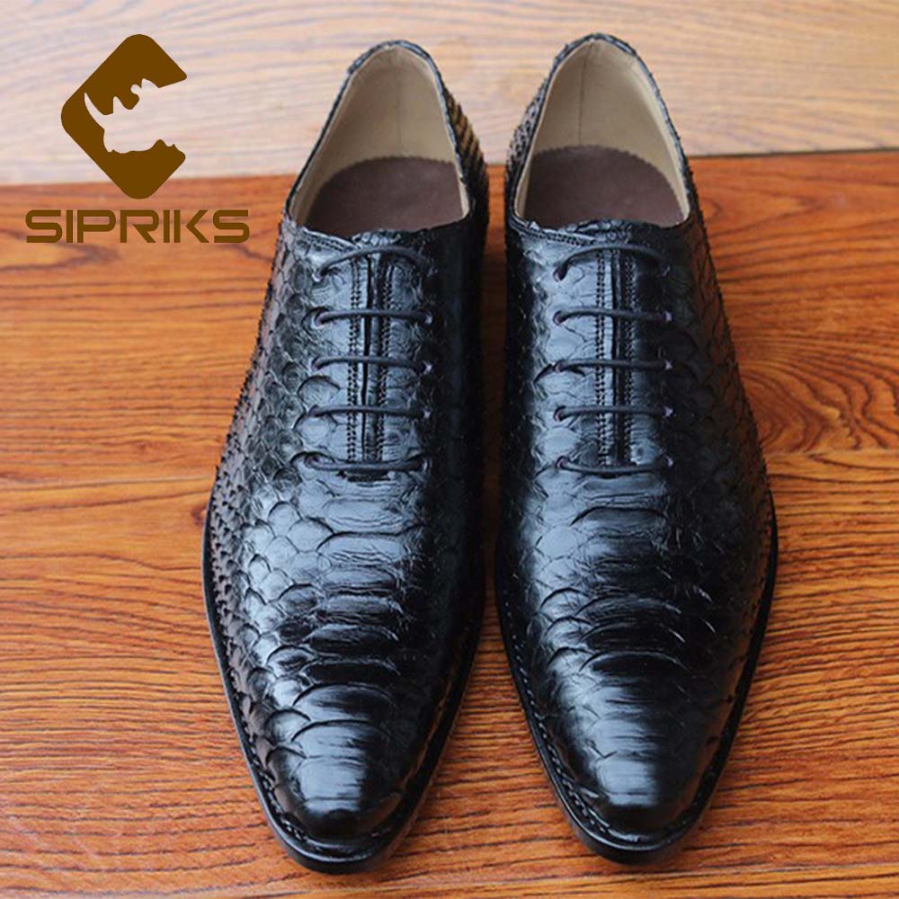 Sipriks Whole Cut Plain Oxfords 100% Python Skin Dress Shoes Pointed Lace Up Formal Suits Gents Boss Office Business Shoes 46 47 Formal Shoes