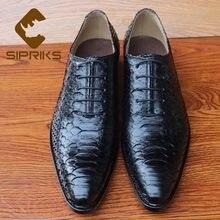 SIPRIKS-zapatos Oxford lisos de corte entero para hombre, zapatos de piel de pitón, cordones puntiagudos, trajes formales, zapatos de negocios para oficina, talla 46 47