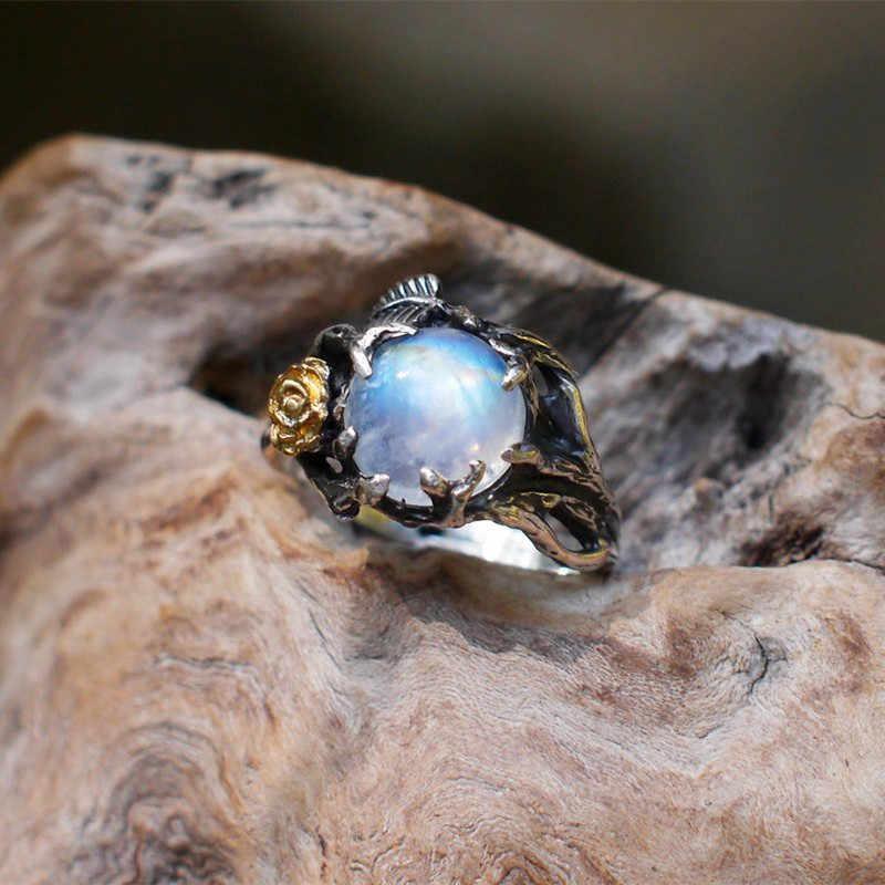 Superventas Vintage Retro árbol hoja piedra lunar Natural anillo tailandés plateado anillos para mujeres compromiso regalo navideño de joyería