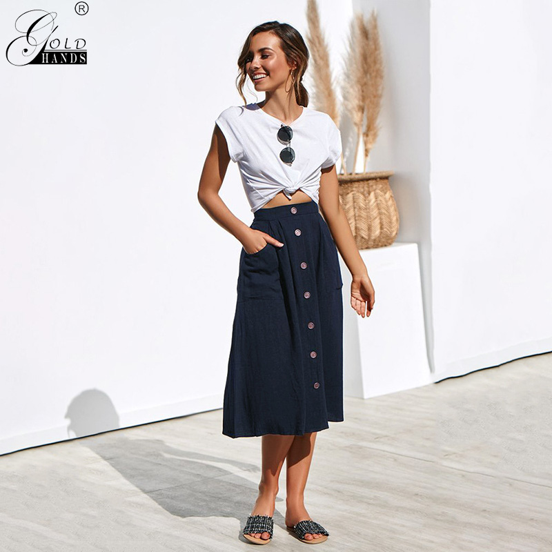 Gold Hands Winter Autumn Office Lady Button A-Line Loose Mid-Calf Solid Elegant Women Skirts Plus Size Skirt Streetwear