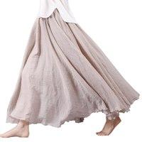 Women Summer Long Skirts Linen Cotton Elastic Waist Pleated Maxi Skirts Beach Boho Vintage Skirts S1