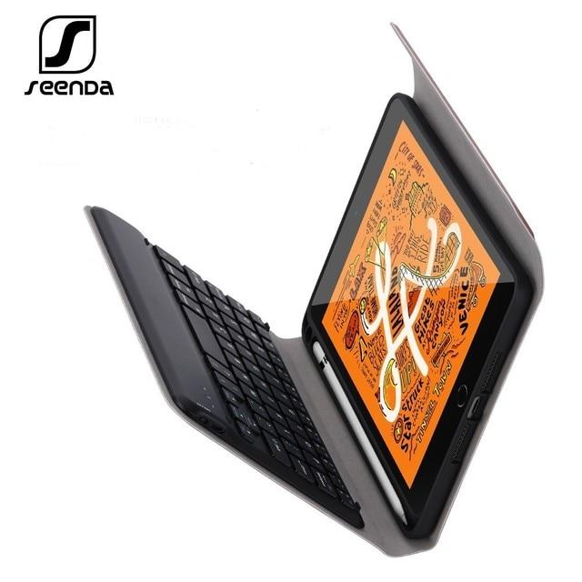 SeenDa kablosuz klavye için iPad Mini 5 kablosuz Bluetooth klavye kılıf kapak klavye keten iPad Mini 5 için kapak