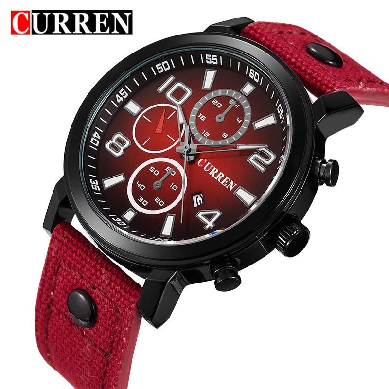 Prix pour CURREN Mode En Cuir D'affaires mâle Montres À Quartz-montre Poignet Montres meskie Pour Hommes Horloge Montre de luxe relogio masculino
