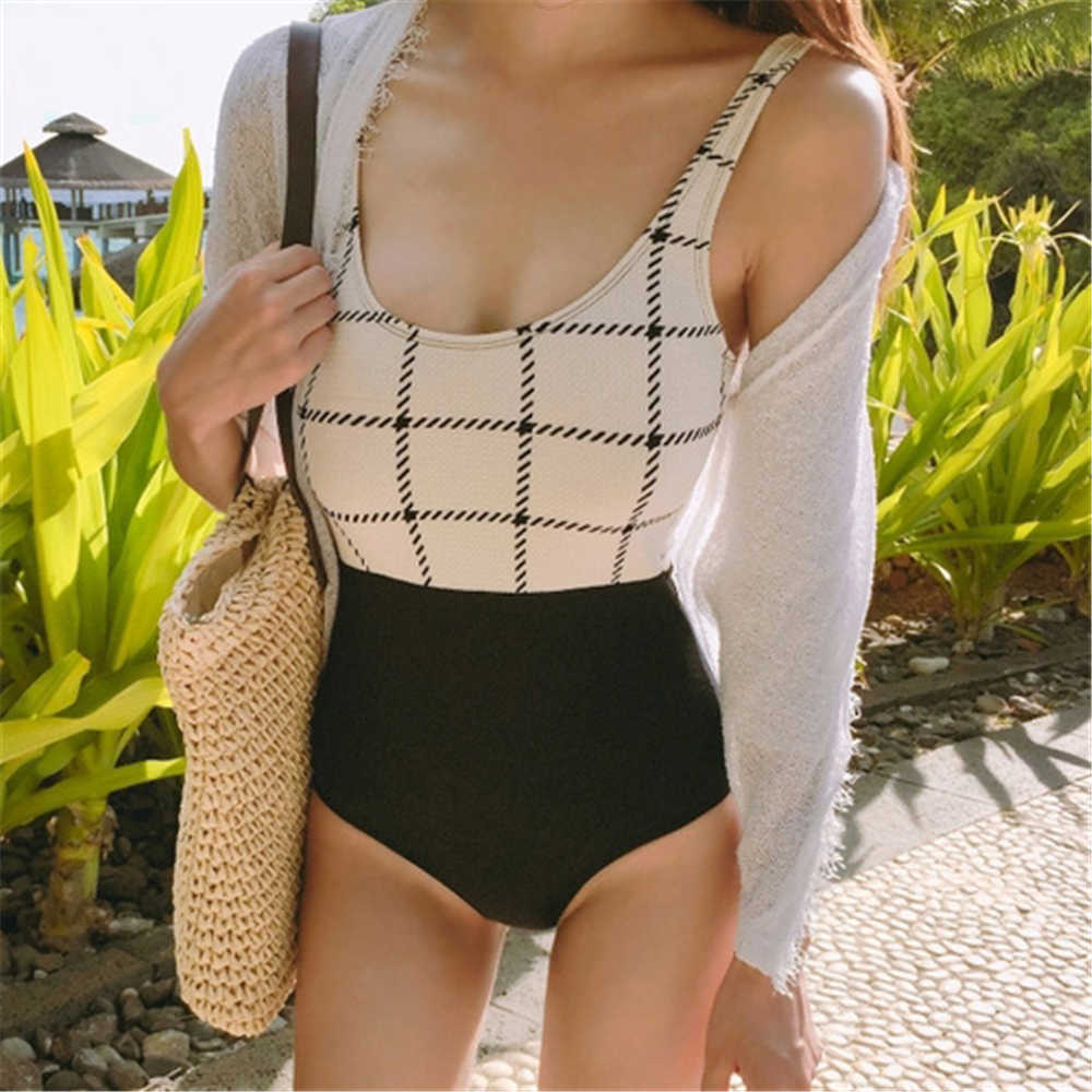 Plaid One Piece Swimsuit White Swimwear Women 2017 Sexy Backless Monokini Push Up Swimsuits Patchwork Bathing Suit Thong Trikini sexy white one piece swimsuit thong swimwear women trikini 2017 monokini backless triquini female bandage push up bathing suit