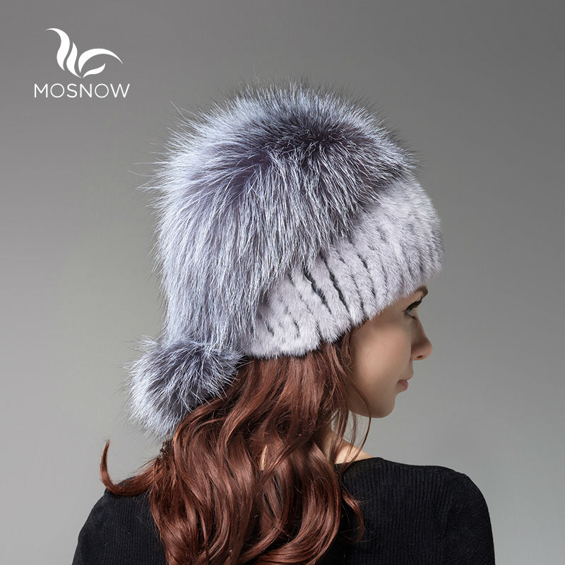 New 2019 Real Mink Fur Woman Winter Hats Silver Fox Pompons Stripe - Apparel Accessories - Photo 3