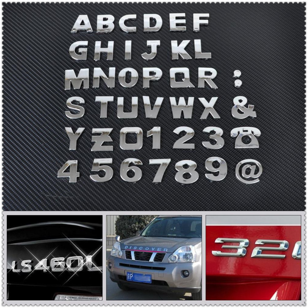 Car auto DIY Letter Alphabet number Stickers Logo for Peugeot 206 307 406 407 207 208 308 508 2008 3008 4008