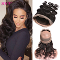 Hot 360 Lace Frontal With Bundle Body Wave Peruvian Virgin Hair With Closure Beauty Pre Plucked 360 Frontal Closure With Bundles