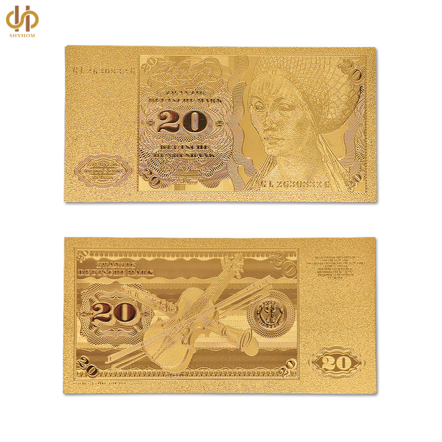 US $1 26 10% OFF|24k Gold Foil Banknote Value Germany 20 Reichs Mark  Replica Original Paper Money Collection-in Gold Banknotes from Home &  Garden on