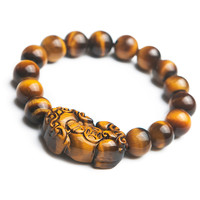 Genuine Natural Yellow Tiger's Eye PiXiu Gems Stone Beads Women Man Charm Bracelet 10mm