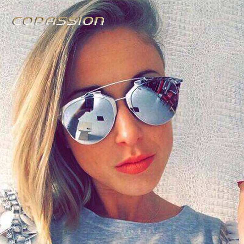 Oversize Lady Cat Eye Sunglasses Women Brand Designer Metal Frame sun glasses for women uv400 Goggles oculos de sol feminino