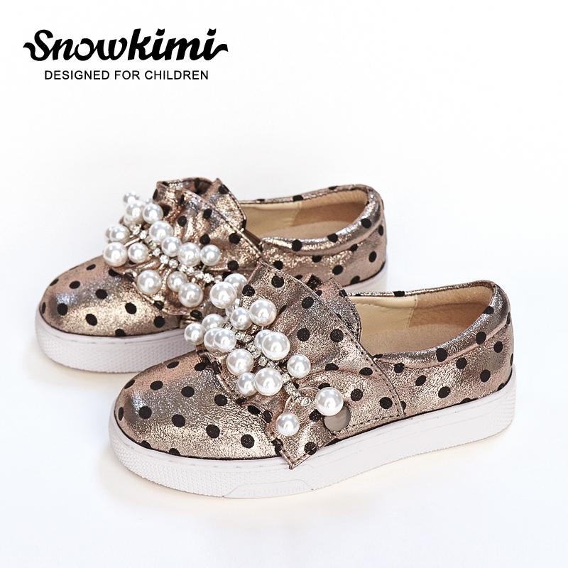 Snowkimi 2017 Kids Shoes Antislip Spring And Autumn Children 's Slip-on Casual Shoes Girls Pearl Buckle Sneaker Free Shipping