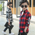 2017 spring and autumn Boy letters plaid shirt children long tpey wild lapel coat of kid girls
