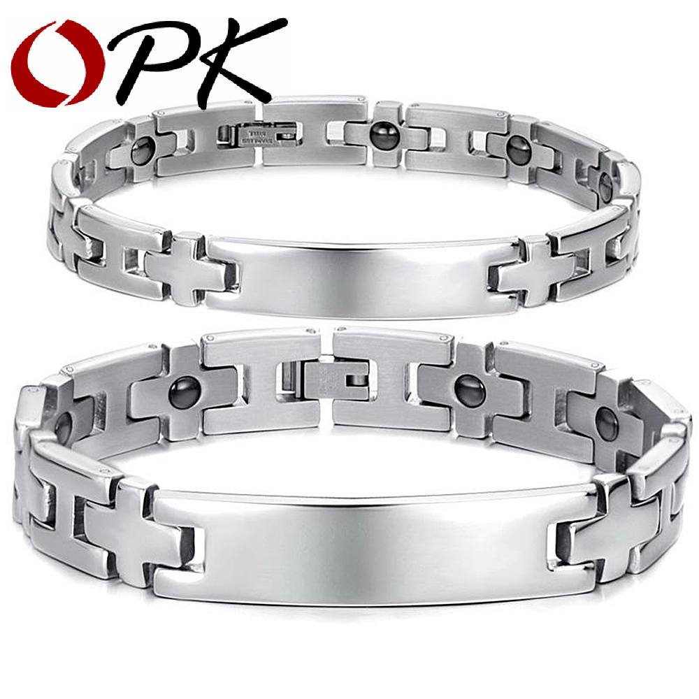 OPK BIJOUX Sain Acier Inoxydable Bracelet Couple Bracelet Magnétique Balle Croix Conception Chaîne Lien Femmes Hommes Bijoux GS8403