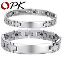 OPK JEWELRY Healthy Stainless Steel Bracelet Couple Magnetic Bracelet Ball Cross Design Chain Link Women Men Jewelry GS8403