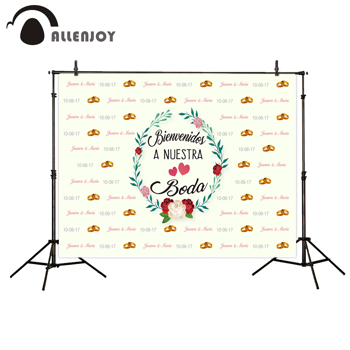 Allenjoy Photographic Background wreath wedding backdrop Golden ring name date phrase Customized background camera fotografica allenjoy diy wedding photography background romantic love wood board custom name date phrase backdrop photocall