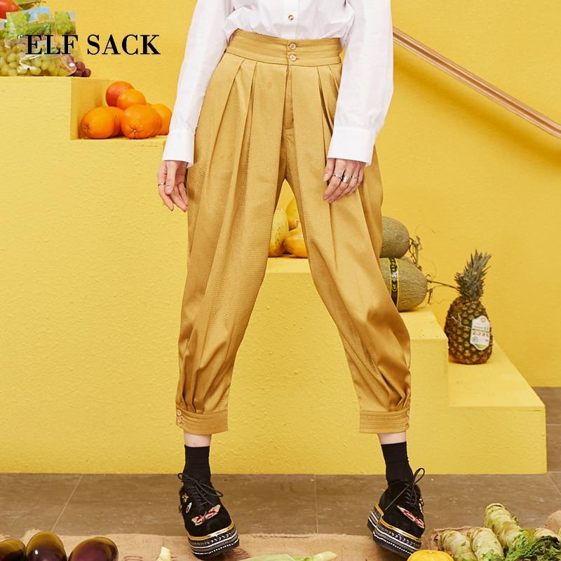 ELF SACK 2019 New Fashion Solid Pants Woman Casual Mid Ladies Harem Pants Elastic Waist Femme
