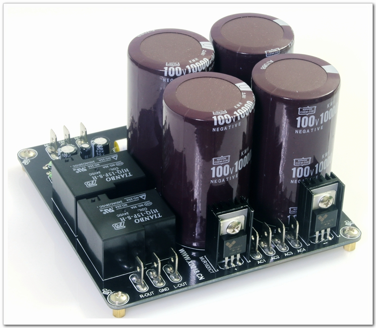 ФОТО Assembly 4 * 10000uF Power Rectifier Filter Board With Speaker Protection Power Board +-55V Output Voltage