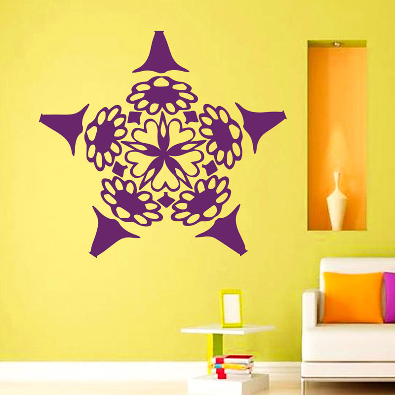 Hot Sale Mandalas Flowers Wall Stickers Mural Vinyl Yoga Indian Home Decoration Wall Sticker For Living Room Removable