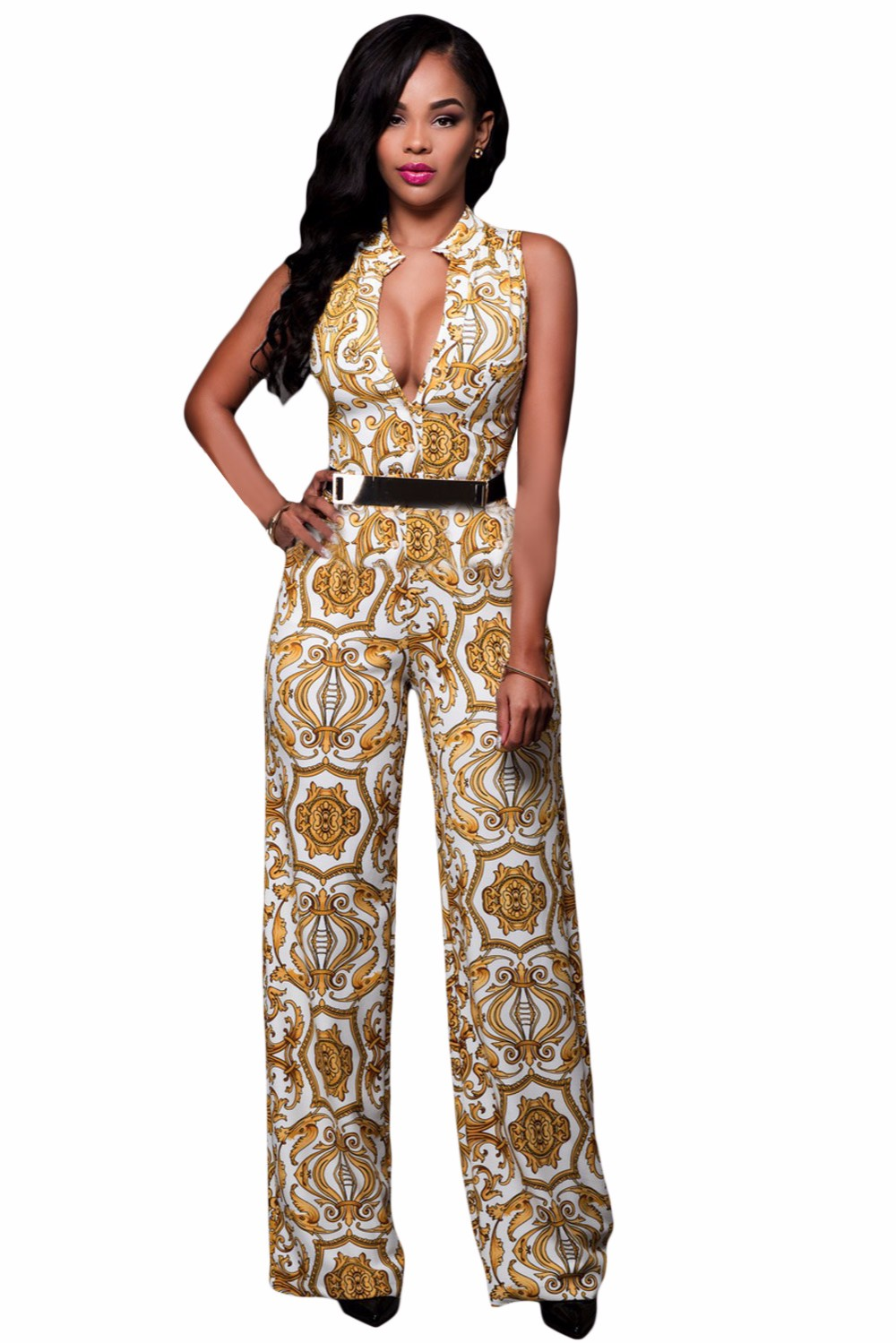White-Yellow-Tapestry-Print-Belted-Jumpsuit-LC64195-1-1