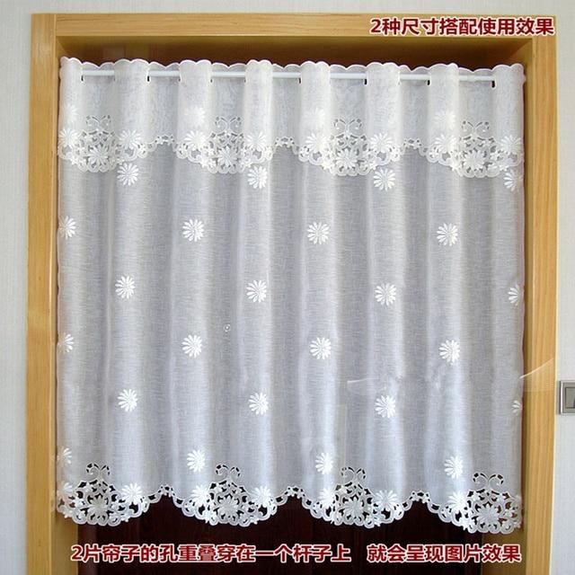 Cortina de partición de café de cenefa de ventana bordada de media ...
