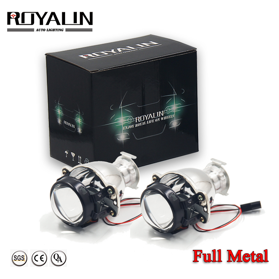 ROYALIN Car Bi Xenon Mini 1.8 Metal Lens 12V HID Headlight Projector Lamps H4 H7 Universal Auto Motercycle Light Retrofit DIY