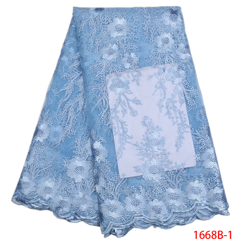 New African French Lace Fabric Blue High Quality 2018 3d Lace Fabric Net Lace Fabric Embroidered