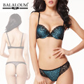 Balaloum Sexy Bra Suit with Thong Floral Embroidery Underwear Side Gathering  Bra Thong Set Blue Bra